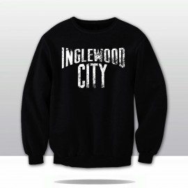 INGLEWOOD CITY DISTRESSED CREWNECK SWEATSHIRT  (black/white)