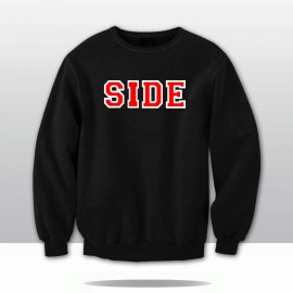SIDE PRIDE! VARSITY CHENILLE LETTERED SWEATSHIRT (black/red/white)