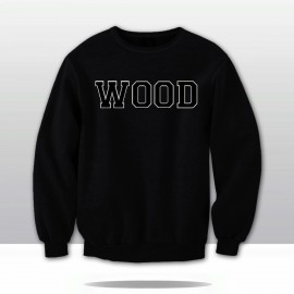 THE WOOD! VARSITY CHENILLE LETTERED CREWNECK SWEATSHIRT  (black/black/white)